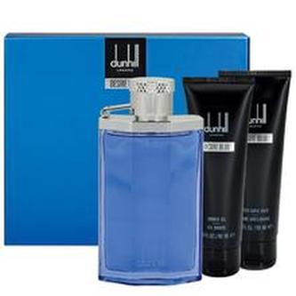 Dunhill Desire Blue Dárková sada Toaletní voda 100 ml, sprchový gel Desire Blue 90 ml, After Shave Balsam ( balzám po holení ) Desire Blue 90 ml a kosmetická taška
