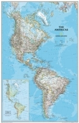 National Geographic Map The Americas, Planokarte