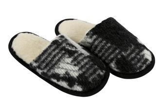 Australské meríno pantofle 520g/m2 - bílo černý beránek/černá stuha - velikost 39-40