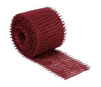 Jutový dekorační pásek - červený - 3m x 4 cm