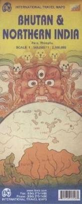 International Travel Map ITM Bhutan & Northern India. International Travel Map ITM India North & Bhutan