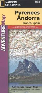 National Geographic Adventure Travel Map Pyrenees, Andorra, France, Spain
