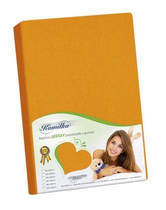 Prostěradlo jersey - oranžová - 120x200 cm