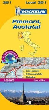 Michelin Karte Piemont, Aostatal. Piemonte, Valle d' Aosta