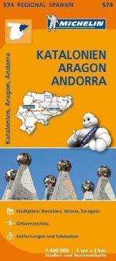 Michelin Karte Katalonien, Aragon, Andorra. Cataluna / Catalunya, Aragon, Andorra