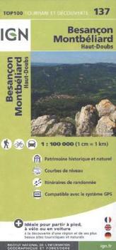 IGN Karte, Tourisme et découverte Besancon, Montbéliard, Haut-Doubs