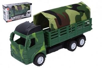 Auto vojenské nákladní s plachtou plast 28cm v krabici 31x16x10cm