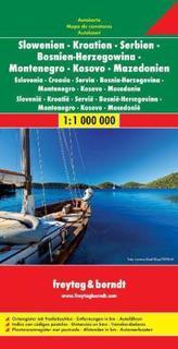 Freytag & Berndt Autokarte Slowenien, Kroatien, Serbien, Bosnien, Herzegowina, Montenegro, Kosovo, Mazedonien. Eslovenia, Croaci