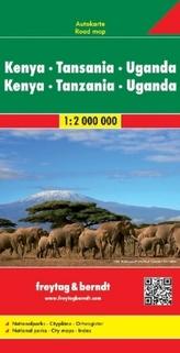 Freytag & Berndt Autokarte Kenya, Tansania, Uganda. Kenia, Tanzania, Uganda