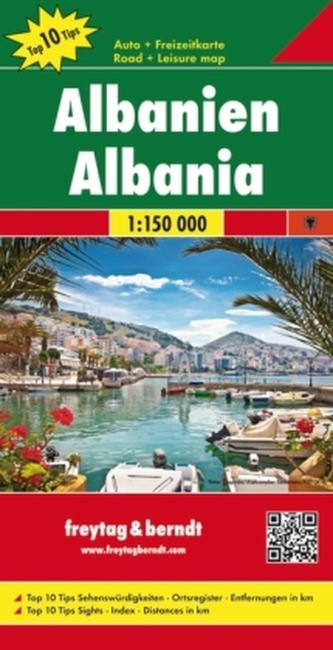 Freytag & Berndt Autokarte Albanien, Top 10 Tips 1:150.000. Albania / Shqiperia / Albanie