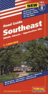 Hallwag USA Road Guide Southeast