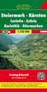 Freytag & Berndt Autokarte Steiermark, Kärnten; Carintia, Estiria. Karinthie; Stiermarken; Styria, Carinthia. Styrie, Carinthie;