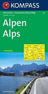 Kompass Panorama-Karte Alpen. Kompass Panorama-Karte Alps. Kompass Panorama-Karte Alpi. Kompass Panorama-Karte Alpes