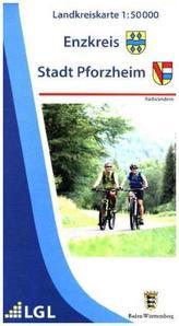 Topographische Landkreiskarte Baden-Württemberg Enzkreis, Stadt Pforzheim