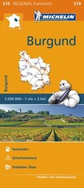 Michelin Karte Burgund. Bourgogne