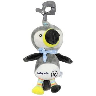 Dětská plyšová hračka s hracím strojkem Baby Mix Tukan šedý