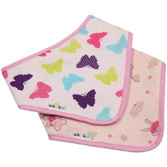 Dětský bryndáček-šátek Akuku 2 ks motýlek-myška