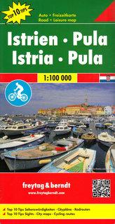 Freytag & Berndt Auto + Freizeitkarte Istrien - Pula, Top 10 Tips, Autokarte 1:100.000. Istria - Pula