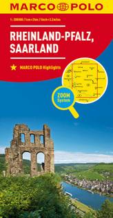 MARCO POLO Karte Rheinland-Pfalz, Saarland. Rhineland-Palatinate, Saarland / Rhénanie-Palatinat, Sarre