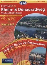 BVA Radreisekarte EuroVelo 6, Rhein- & Donauradweg, 7 Bl. (Kartenset)