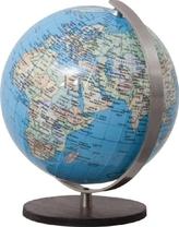 DUO Globus, Holzfuß braun u. Meridian Edelstahl