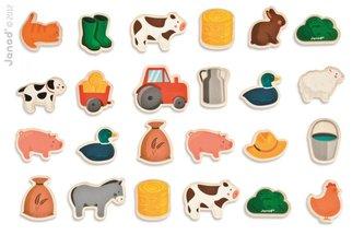 Dřevěné magnetky pro děti Zvířata na farmě Janod 24 ks od 2 let