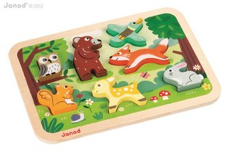Dřevěné vkládací puzzle pro nejmenší Lesní zvířata Chunky Janod od 1 roku 7 dílů