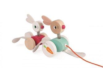 Dřevěné Zajíčky Zigolos hračka k tažení Janod od 1 roku