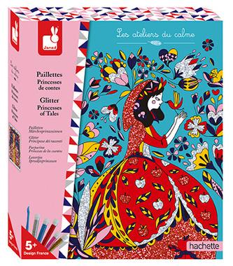 Kreativní sada Princezny z pohádek barevný písek s třpytkami Janod Atelier Maxi