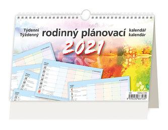 Kalendář 2021 stolní: Týdenní rodinný plánovací kalendář, 226x139