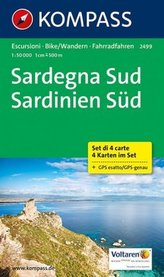 Kompass Karte Sardegna Sud, 4 Bl.. Sardinien Süd