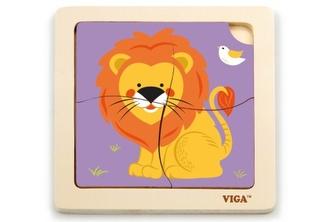 Dřevěné puzzle 4 dílky - lev