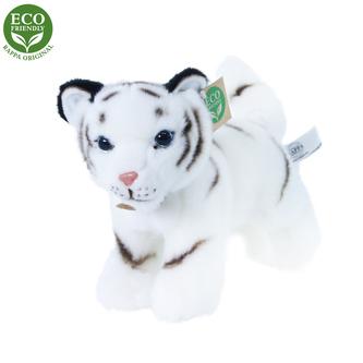 Plyšový tygr bílý mládě stojící s tvarovatelnými končetinami, 22 cm ECO-FRIENDLY