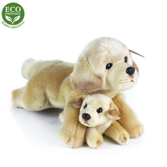 Plyšový labrador s miminkem ležící, 25 cm, ECO-FRIENDLY