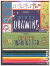 Usborne Step-by-Step Drawing, w. Drawing Pad and 8 Pencils