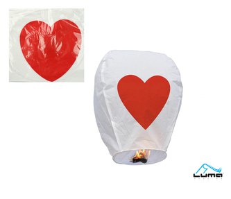 Lampion štěstí s potiskem srdce 96 x 50 x 37cm LUMA