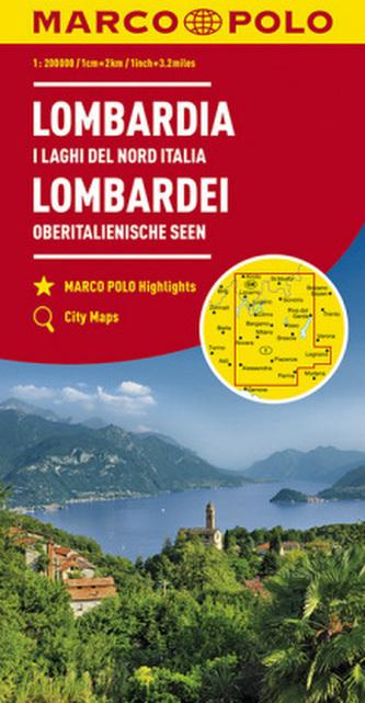 MARCO POLO Karte Lombardei, Oberitalienische Seen 1:200 000. Lombardia I Laghi Del Nord Italia. Lombardy North Italian Lakes / L