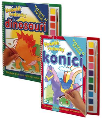 Komplet 2ks Veselé vodovky Koníci + Dinosauři