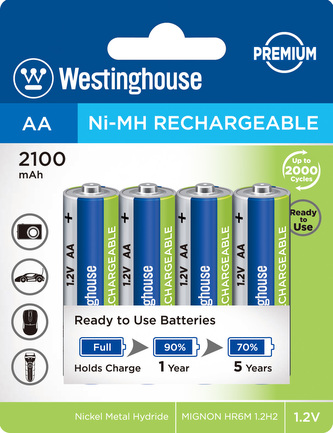 Akumulátor Westinghouse PREMIUM AA NiMH 2100mAh 1,2V, blistr 4ks