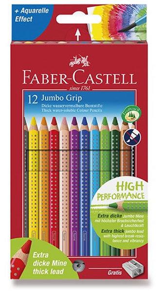 Faber - Castell Pastelky trojhranné Jumbo Grip - rozmývatelné 12 ks + ořezávátko