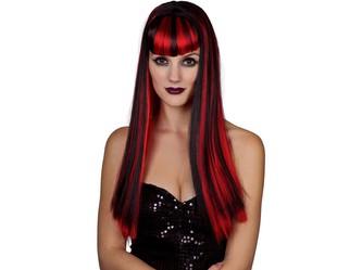 Paruka červenočerná dlouhé vlasy