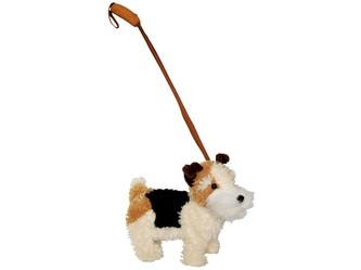 Pes foxteriér s vodítkem, vesele štěká a chodí, 30cm
