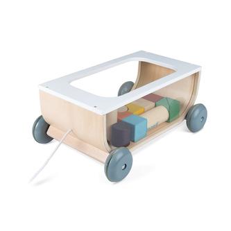 Dřevěný vozík s kostkami na tažení Janod Cocoon od 1 roku