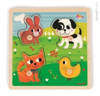 Dřevěné vkládací puzzle pro nejmenší Domácí zvířata Janod od 1 roku 4 díly
