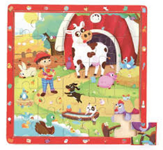 Dřevěné puzzle Zvířátka na farmě