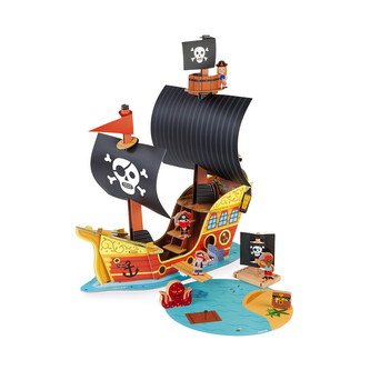 Kartonová stavebnice Pirátská loď s dřevěnými postavičkami Janod Story