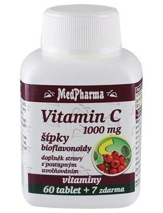 MedPharma Vitamín C 1000 mg s šípky prodloužený účinek 60 tbl. + 7 tbl. ZDARMA