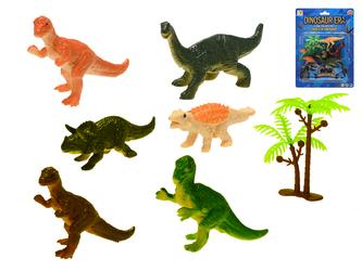 Dinosauři 7-9cm 6ks + stromek na kartě