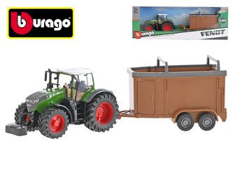 Bburago Fendt 1000 Vario traktor 13cm na setrvačník s přívesem 14cm v krabičce