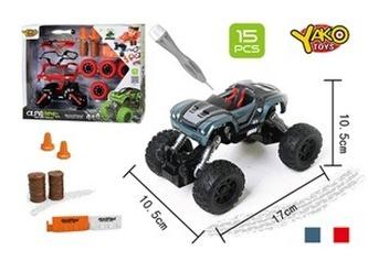 Stavebnice Auto 4WD 15ks, měřítko 1:32 - mix šedé nebo červené